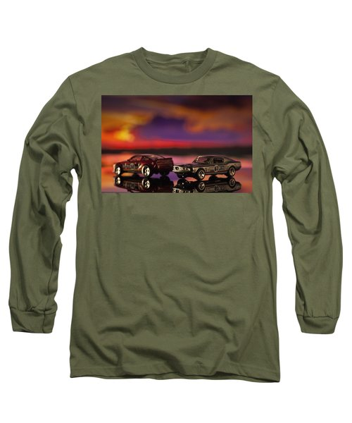 Dueling Mustangs Long Sleeve T-Shirt by Bradley R Youngberg
