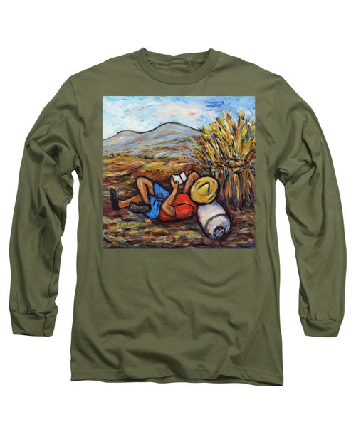 Long Sleeve T-Shirt featuring the painting During The Break by Xueling Zou