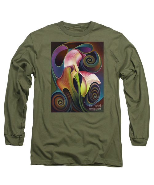 Dynamic Floral 4 Cala Lillies Long Sleeve T-Shirt
