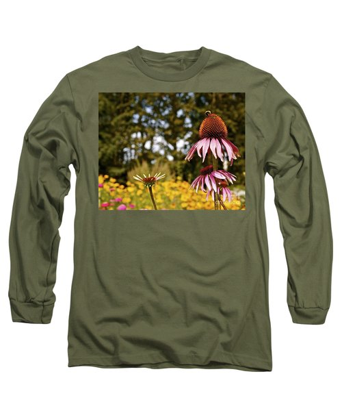 Echinacea With Bee Long Sleeve T-Shirt by Linda Bianic