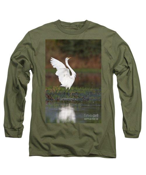 Egret Dancing Long Sleeve T-Shirt by Bryan Keil