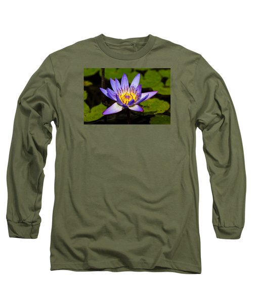 Egyptian Blue Water Lily  Long Sleeve T-Shirt by Scott Carruthers