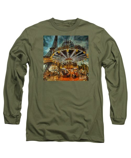 Long Sleeve T-Shirt featuring the painting Eiffel Tower Carousel by Dragica  Micki Fortuna