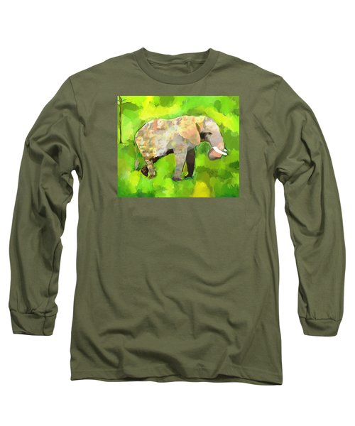 Long Sleeve T-Shirt featuring the painting Elephant 4 by Jeanne Fischer