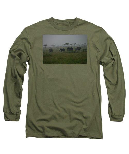 Elephants In Heavy Rain Long Sleeve T-Shirt by Menachem Ganon