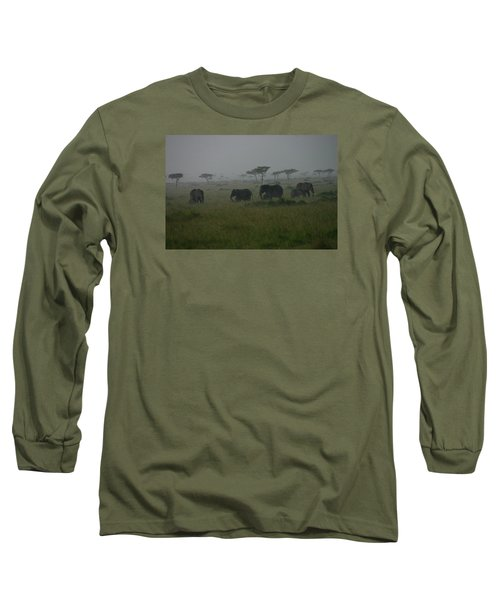 Elephants In Heavy Rain Long Sleeve T-Shirt