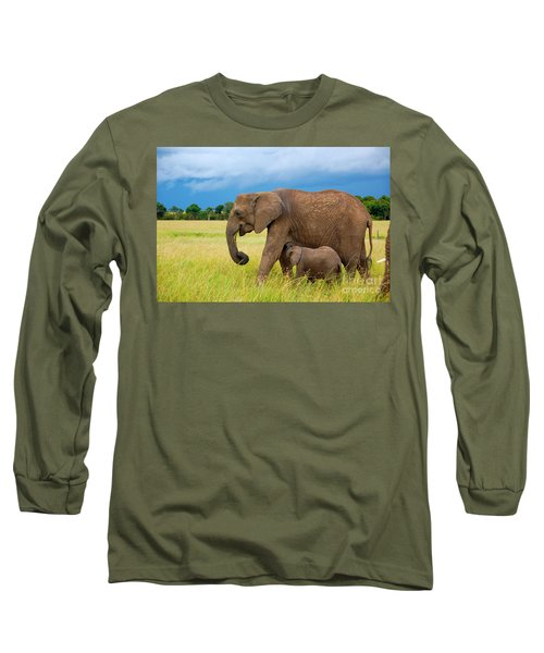 Elephants In Masai Mara Long Sleeve T-Shirt by Charuhas Images