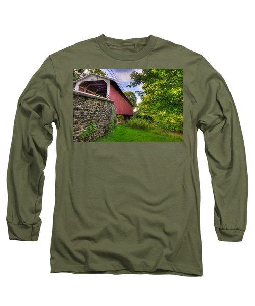 Long Sleeve T-Shirt featuring the photograph Eshelman's Mill Covered Bridge by Jim Thompson