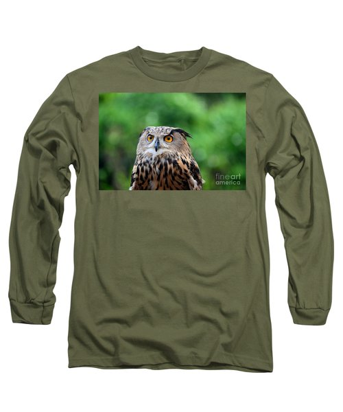 Eurasian Or European Eagle Owl Bubo Bubo Stares Intently Long Sleeve T-Shirt by Imran Ahmed