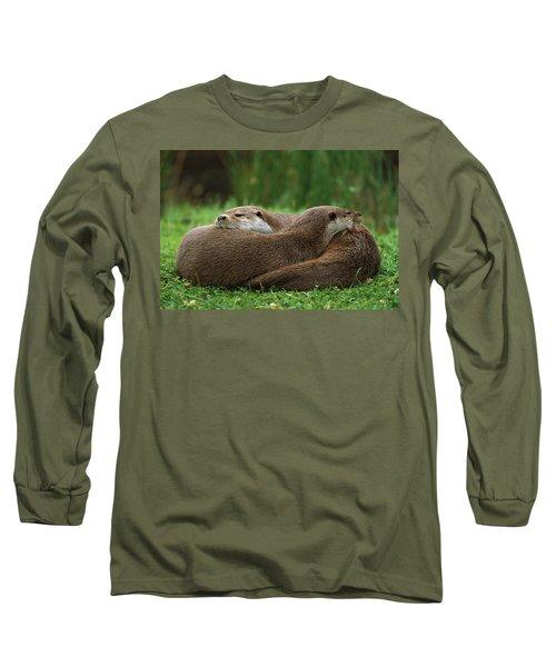 European River Otter Lutra Lutra Long Sleeve T-Shirt by Ingo Arndt