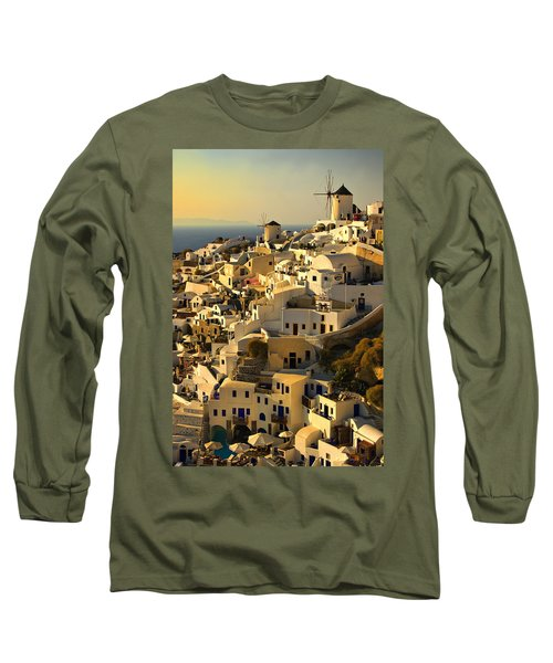 evening in Oia Long Sleeve T-Shirt by Meirion Matthias