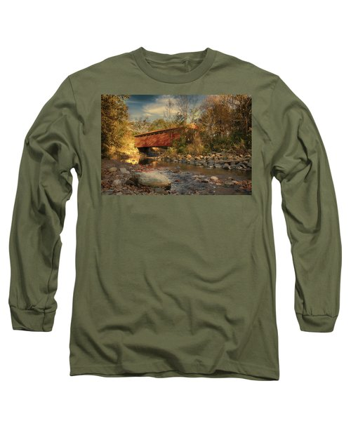 Everett Rd Summit County Ohio Covered Bridge Fall Long Sleeve T-Shirt