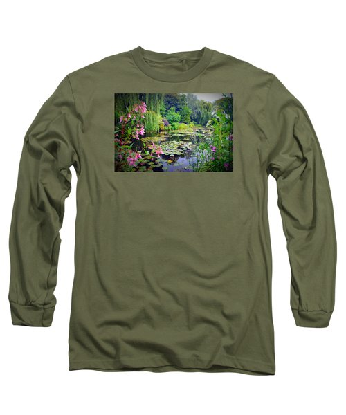 Fairy Tale Pond With Water Lilies And Willow Trees Long Sleeve T-Shirt by Carla Parris