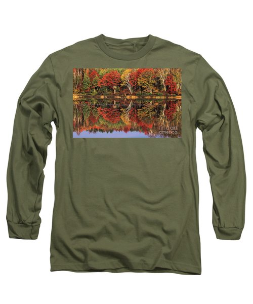 Long Sleeve T-Shirt featuring the photograph Fall Color Reflected In Thornton Lake Michigan by Dave Welling