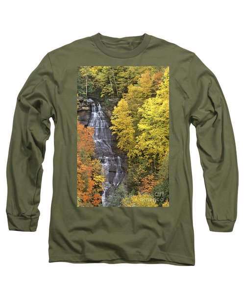 Fall Color Surrounds Chapel Falls On The Michigan Upper Peninsula Long Sleeve T-Shirt by Dave Welling