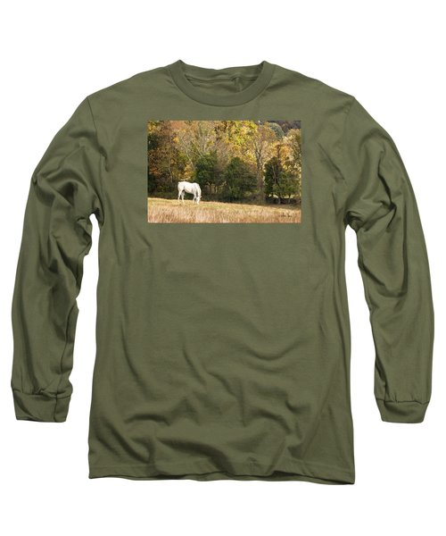 Long Sleeve T-Shirt featuring the photograph Fall Grazing by Joan Davis