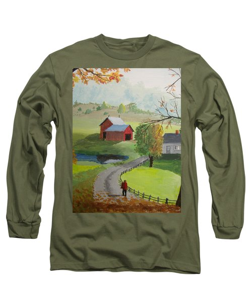 Long Sleeve T-Shirt featuring the painting Fall Walk by Norm Starks