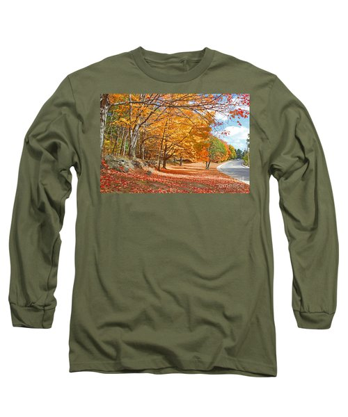 Falling Leaves On The Road To Bentley Long Sleeve T-Shirt by Rita Brown