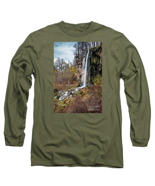 Falling Springs Fall Long Sleeve T-Shirt by Debbie Green