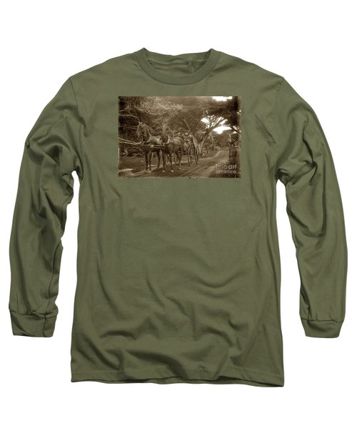 Family Out Carriage Ride On The 17 Mile Drive In Pebble Beach Circa 1895 Long Sleeve T-Shirt by California Views Mr Pat Hathaway Archives