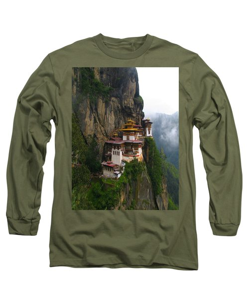 Famous Tigers Nest Monastery Of Bhutan Long Sleeve T-Shirt