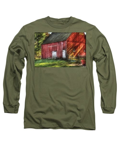 Farm - Barn - The Old Red Barn Long Sleeve T-Shirt by Mike Savad