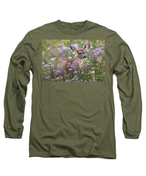 Fawn In Asters Long Sleeve T-Shirt by Sonya Lang