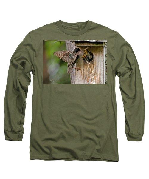 Feeding Starlings Long Sleeve T-Shirt by Torbjorn Swenelius