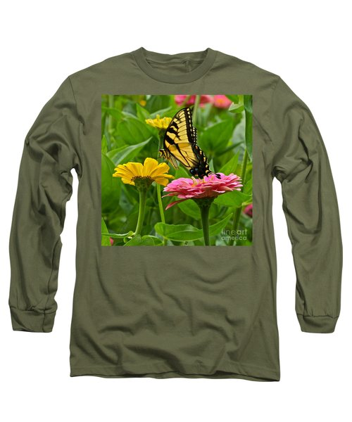 Female Tiger Swallowtail Butterfly With Pink And Yellow Zinnias Long Sleeve T-Shirt