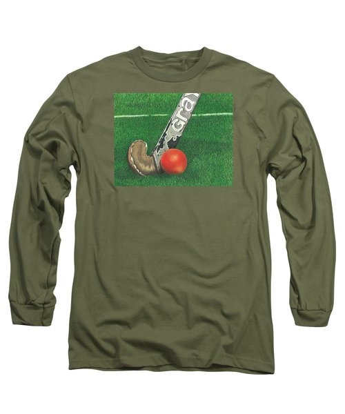 Long Sleeve T-Shirt featuring the drawing Field Hockey by Troy Levesque