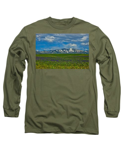 Long Sleeve T-Shirt featuring the photograph Field Of Wildflowers by Don Schwartz