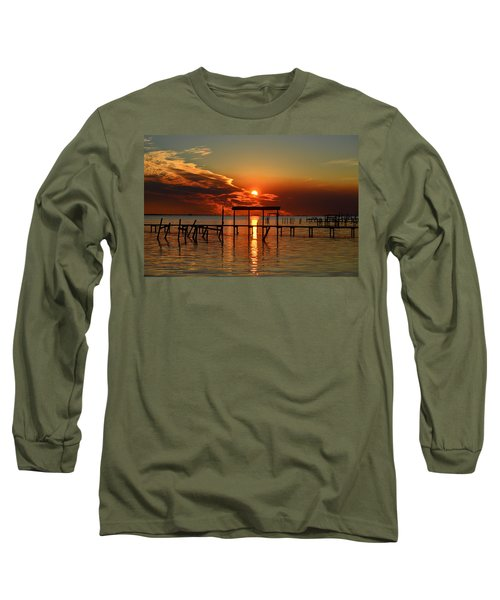 Long Sleeve T-Shirt featuring the photograph Fiery Sunset Colors Over Santa Rosa Sound by Jeff at JSJ Photography