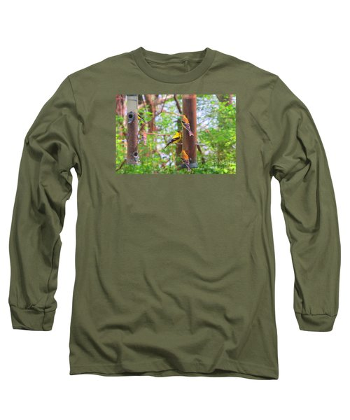 Long Sleeve T-Shirt featuring the photograph Finches Enjoying Their Snack by Tina M Wenger