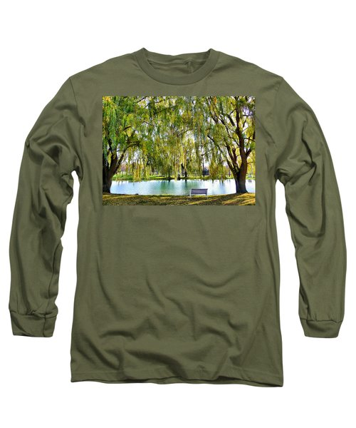 Finger Lakes Weeping Willows Long Sleeve T-Shirt by Mitchell R Grosky