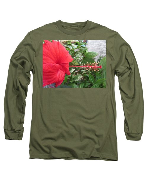 Fire And Ice Hibiscus Long Sleeve T-Shirt