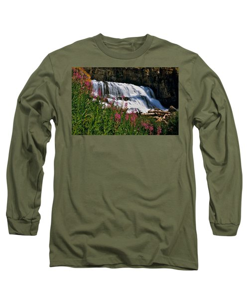 Fireweed Blooms Along The Banks Of Granite Creek Wyoming Long Sleeve T-Shirt