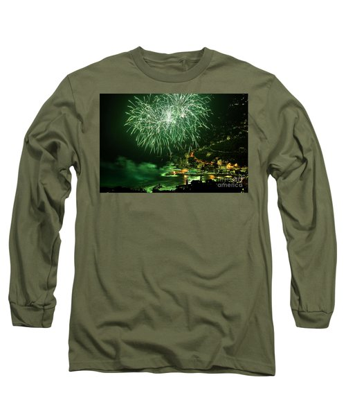 Long Sleeve T-Shirt featuring the photograph Fireworks Hdr by Antonio Scarpi