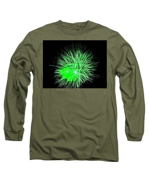 Long Sleeve T-Shirt featuring the photograph Fireworks In Green by Michael Porchik