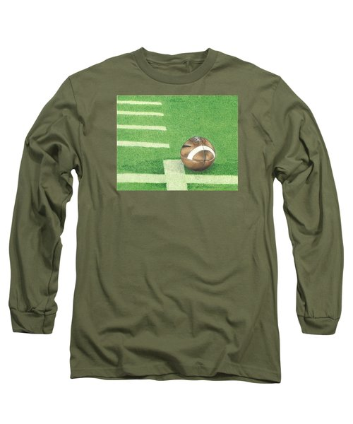 Long Sleeve T-Shirt featuring the drawing First Down by Troy Levesque