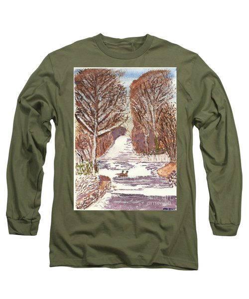 Long Sleeve T-Shirt featuring the painting First Footprints by Tracey Williams