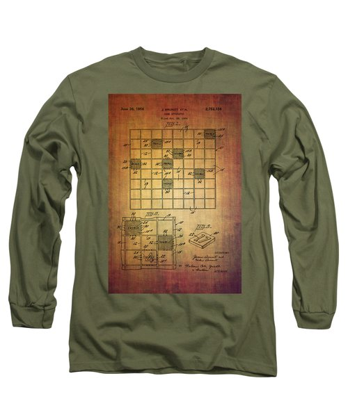 First Scrabble Game Board Patent From 1956  Long Sleeve T-Shirt