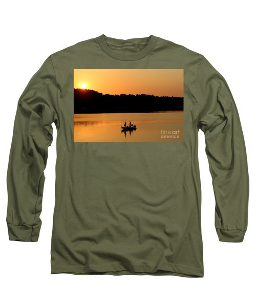 Long Sleeve T-Shirt featuring the photograph Fishing Silhouette  by Kathy  White