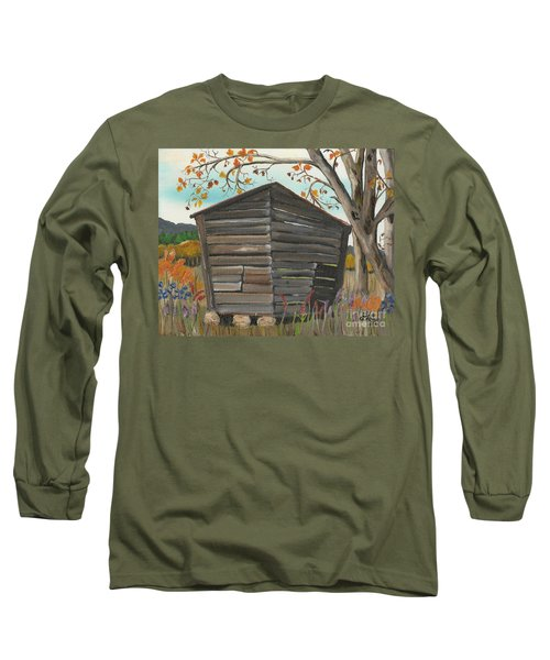 Long Sleeve T-Shirt featuring the painting Autumn - Shack - Woodshed by Jan Dappen