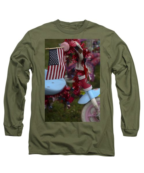Long Sleeve T-Shirt featuring the photograph Flag Bike by Patrice Zinck
