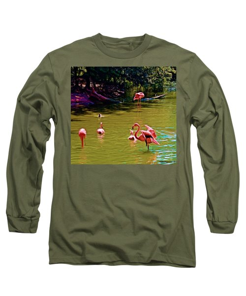 Flamingo Party Long Sleeve T-Shirt