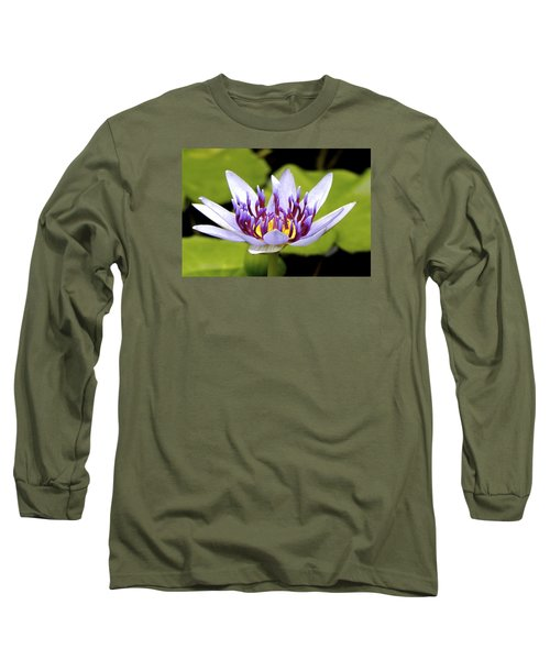 Floating Purple Waterlily Long Sleeve T-Shirt by Lehua Pekelo-Stearns