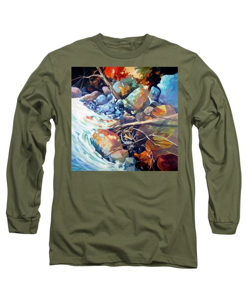 Long Sleeve T-Shirt featuring the painting Flood Plain by Rae Andrews