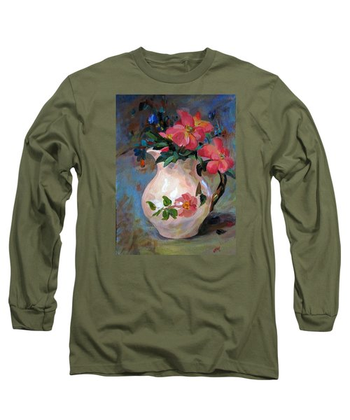 Long Sleeve T-Shirt featuring the painting Flower In Vase by Jieming Wang