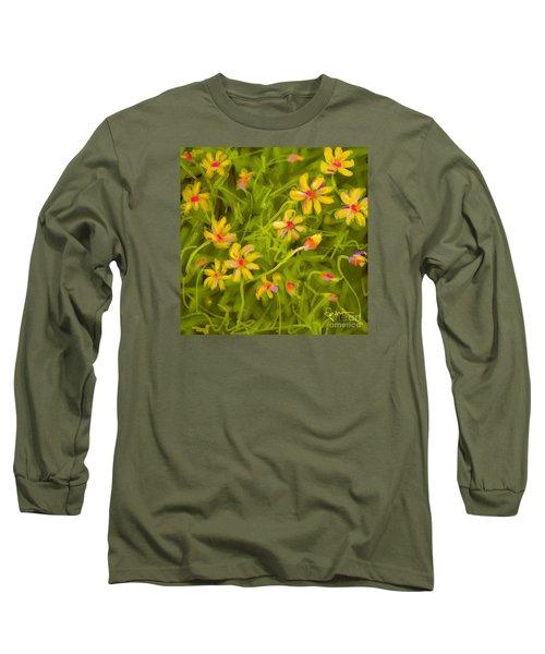 Long Sleeve T-Shirt featuring the painting Flowerfield by Go Van Kampen