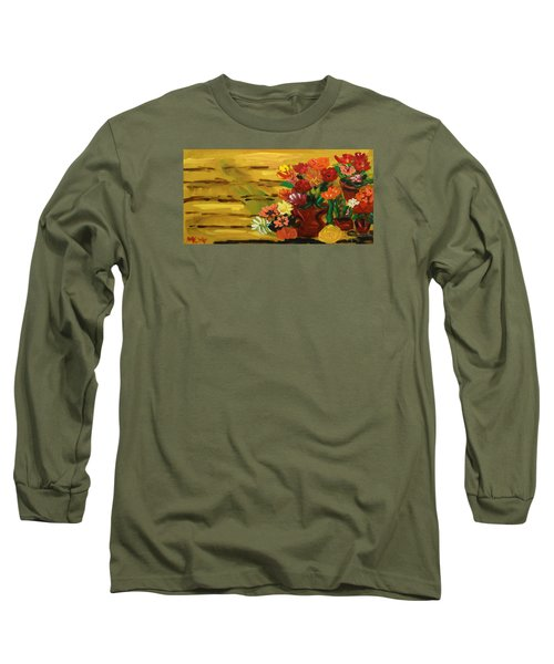 Flowers At The Side Of The House Long Sleeve T-Shirt by Mary Carol Williams